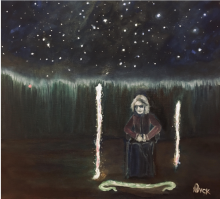 Painting of Deb Warren during CE5 - two light-beings came to look at the scarf and the camera on a tripod